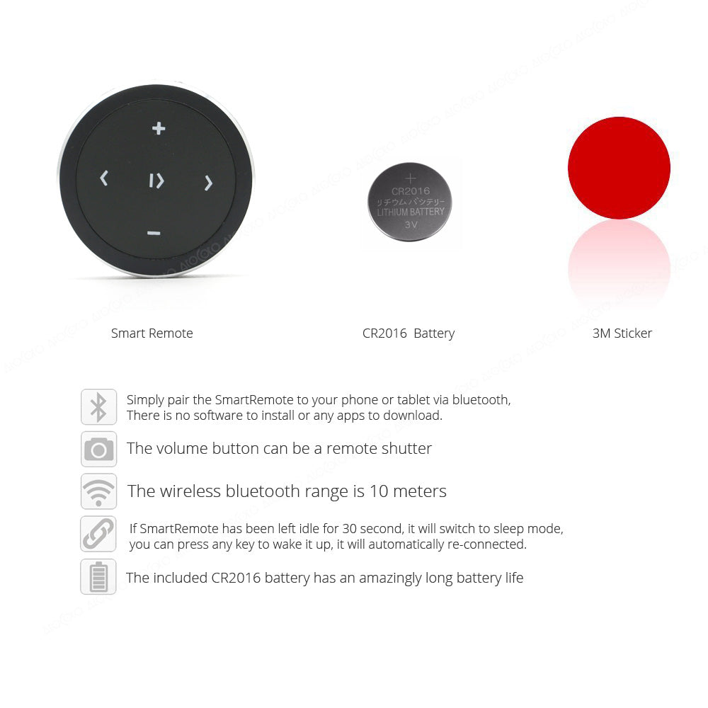 Wireless Bluetooth Media Button, Remote Control For iPhone, Andriod, iOS, Remote Selfie Control