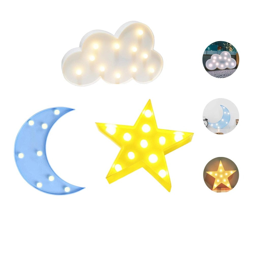 Lovely Cloud Star Moon LED 3D Night Light