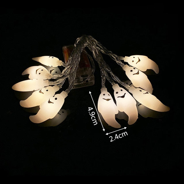 Halloween Pumpkin Ghost Skeletons Bat Spider Led String Light