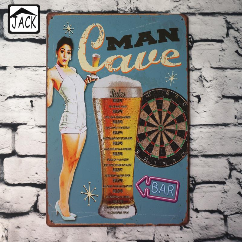 Man Cave Beer Hot Chick Advertising Plaques Metal Tin Plate Poster 20X30CM Vintage Tin Signs Bar Club Pub Shop home Wall Decor