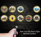 Vintage Drinking Beer Bottle Cap Neon Signs For Bar Cafe Garage Car Motorcycle Wall Decorative Retro Remote LED Rock Music Clock