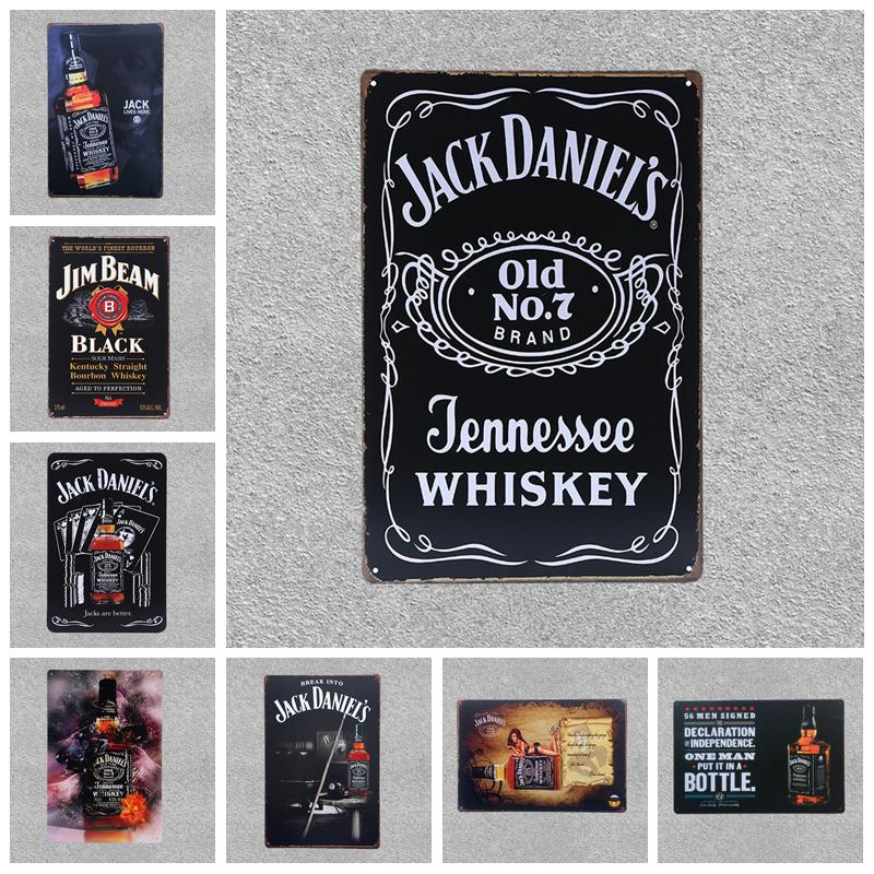 Retro Beer Brand Jack Daniels Whiskey Metal Poster Wall Art Painting Plaque For Bar Pub Home Decorative Jim Beam Tin Signs YN086