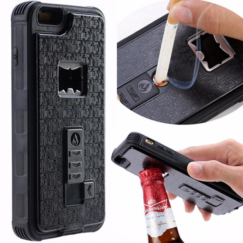 iPhone Case with Built-in Cigarette Lighter and Bottle Opener