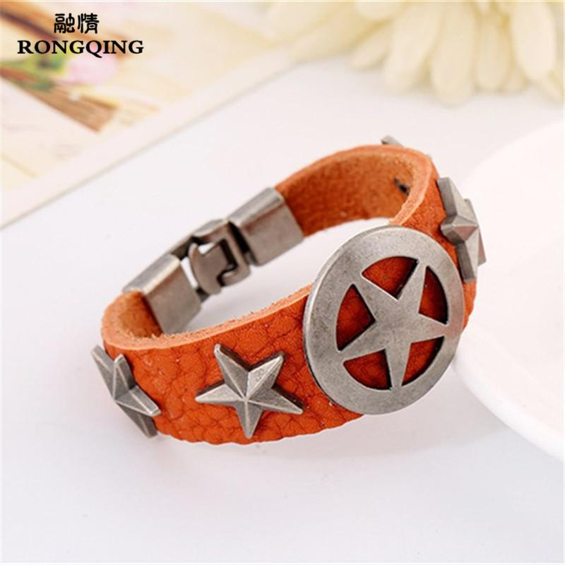 Wide Circle Star Sign Cow Leather Bracelet Cute Boyfriend Gift