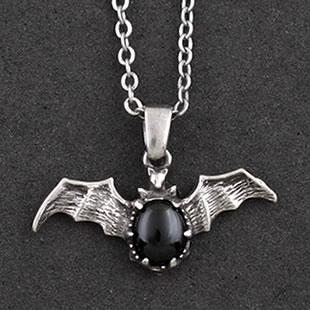 Gothic Black Stone Vampire Bat Necklace