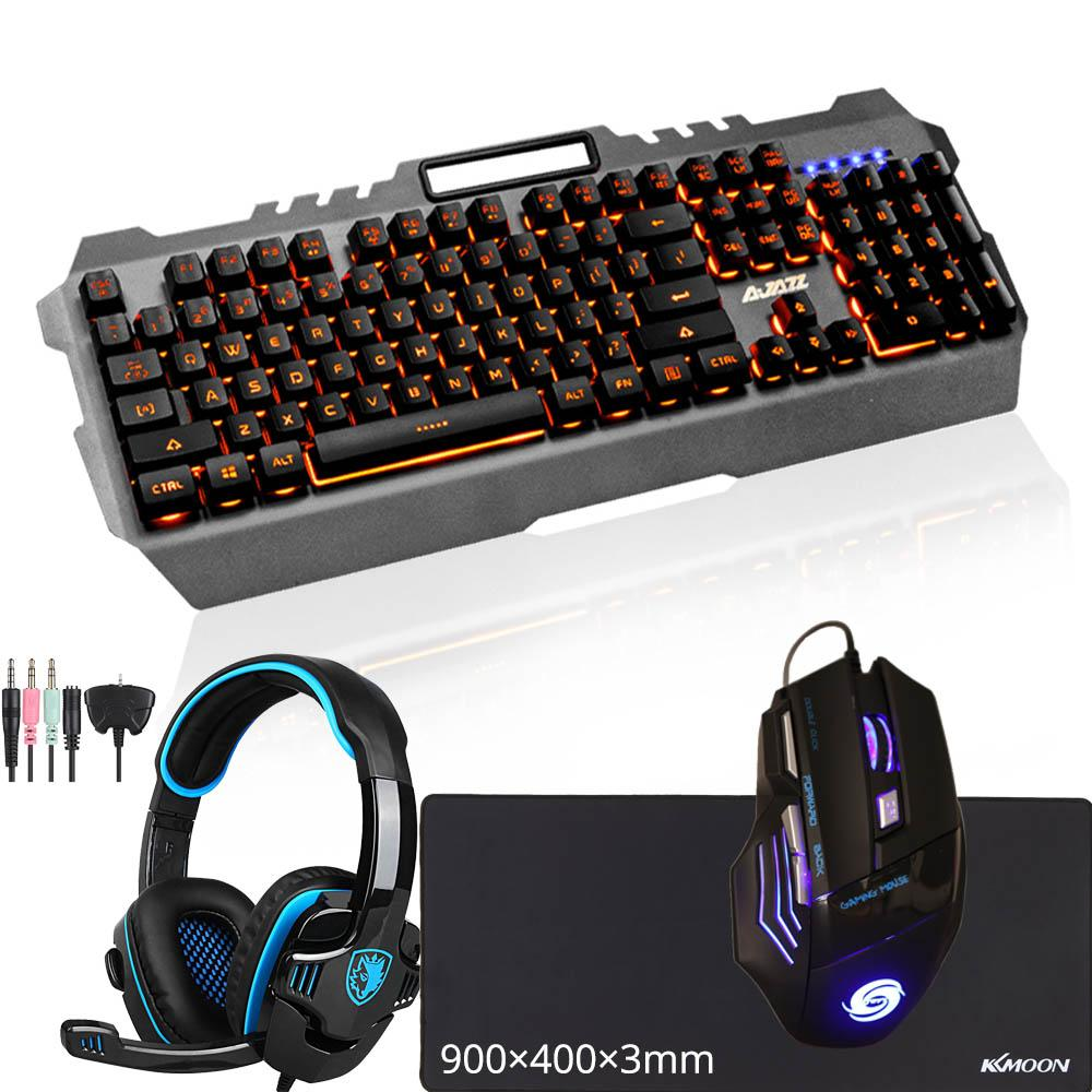 Combo USB Wired Gaming Mechanical Keyboard+Gamer Mouse+Mouse Pad+Headphone