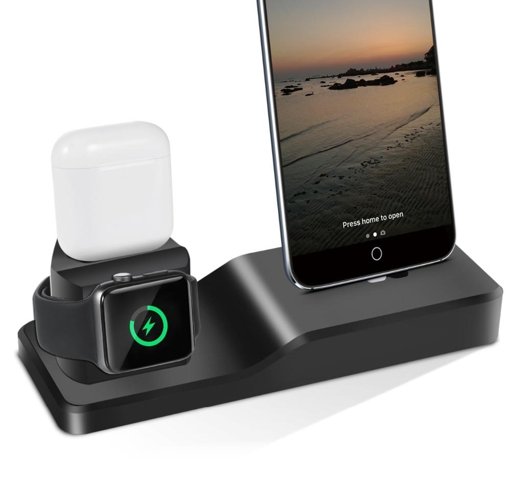 3in1 Silicone Holder For Apple Watch Dock Airpod For iPhone