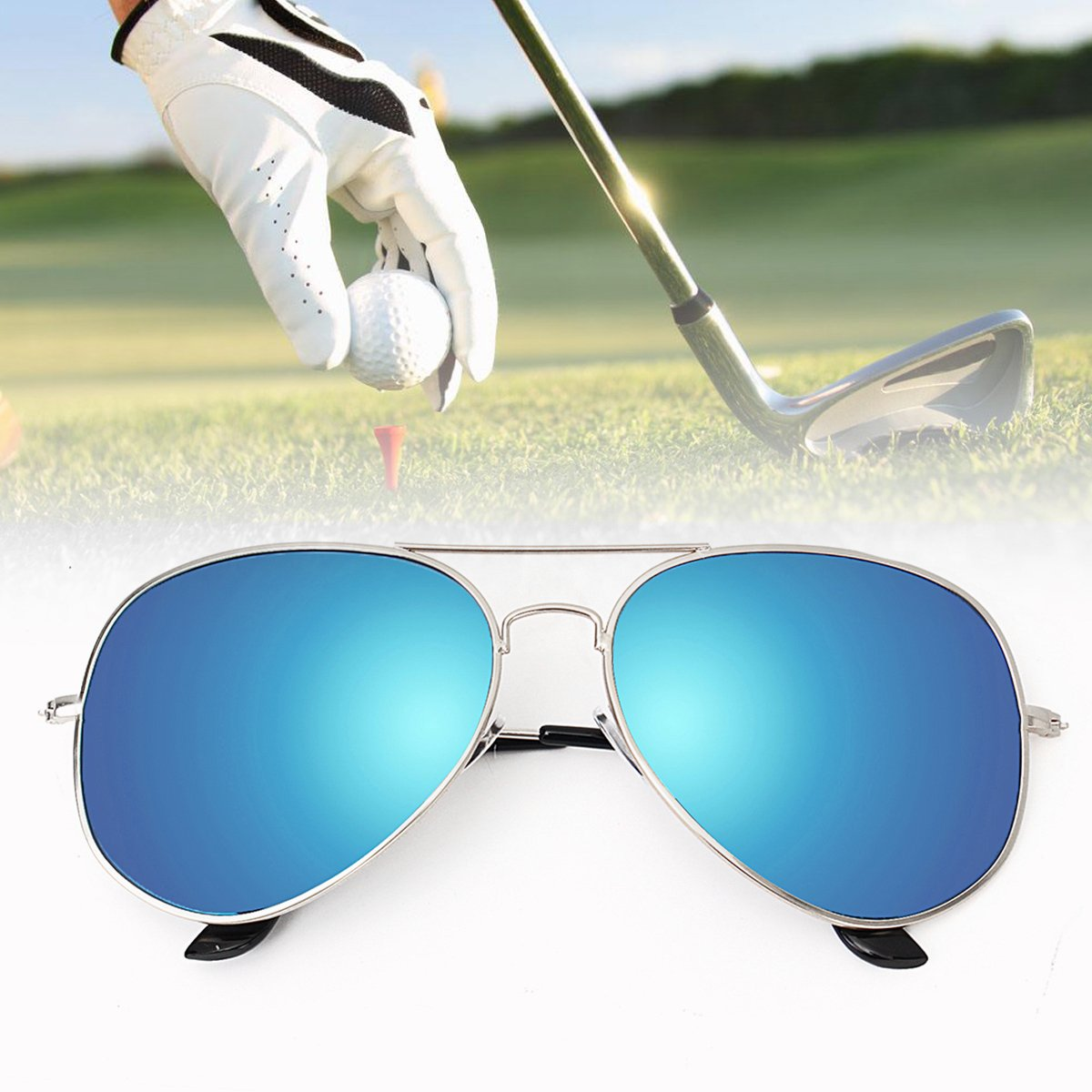 Golf Ball Finder Retro Blue Lens Glasses