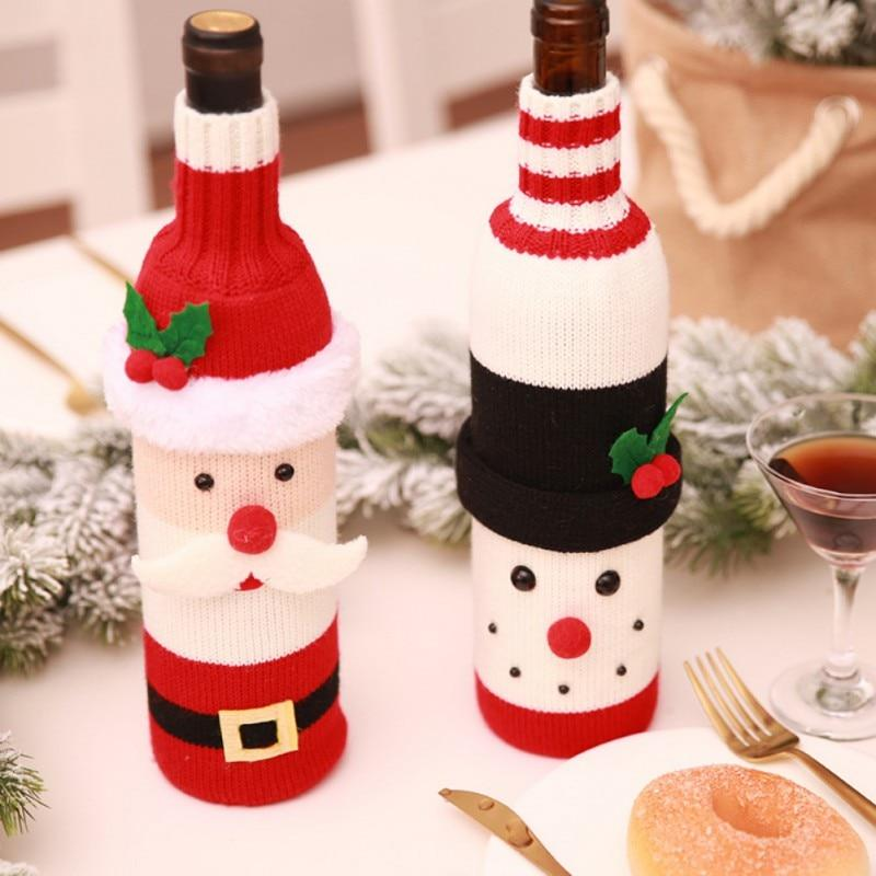 Snowman Wine Bottle Covers Clothes With Hats