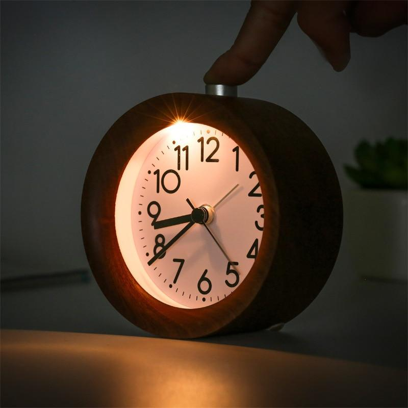 Log wooden night light alarm clock