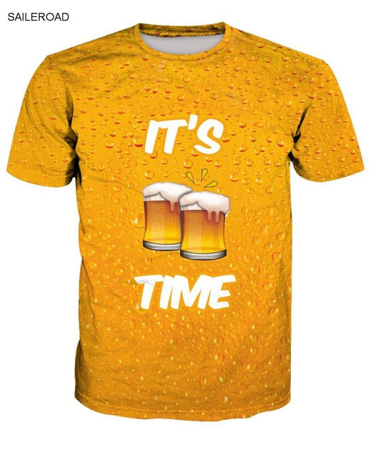 2019 New Summer Beer Full Fashion 3D Print Men T Shirt Novelty Funny Men Short Sleeve T-Shirt Causal Man T Shirt Unisex Tees Top