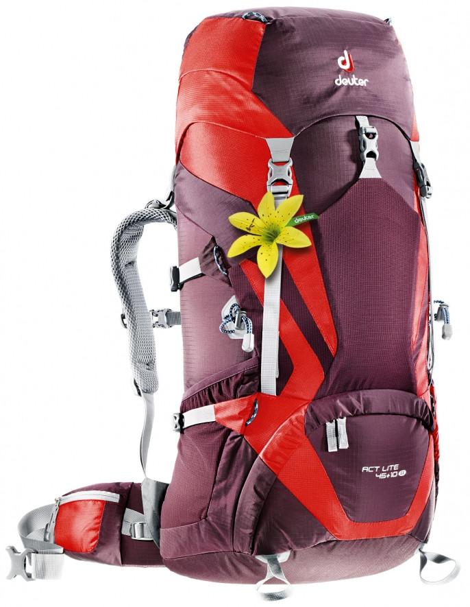 Deuter ACT Lite 45 + 10 SL (2015) Aubergine-Fire - Backpackers Gallery