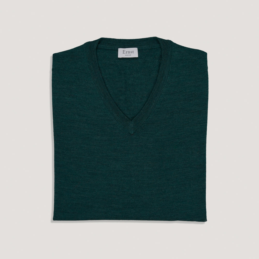 Green Melange V-Neck Wool Sweater
