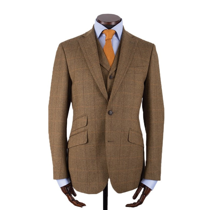 Jakke, Edward, Mustard Herringbone Red Windowpane Borders Tweed
