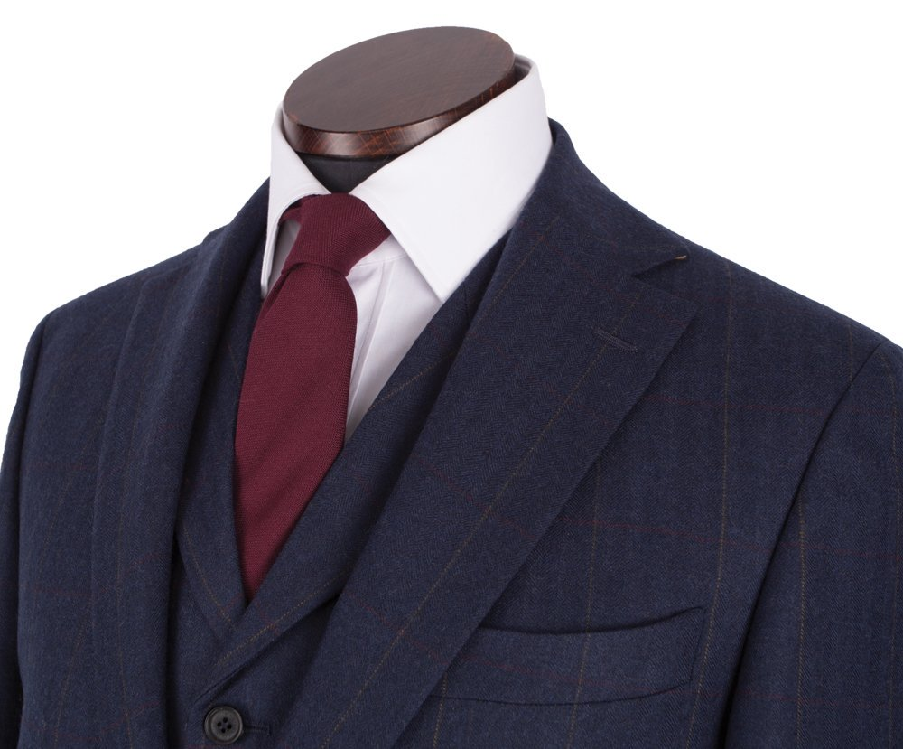 Jakke, Edward, Navy Red Herringbone Windowpane Lambswool Tweed