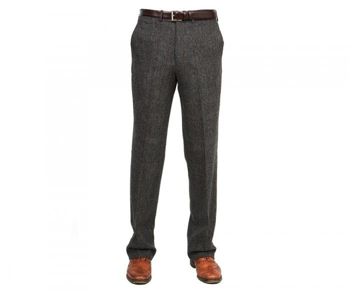 Trousers, Edward, Grey Red Herringbone Windowpane Lambswool Tweed