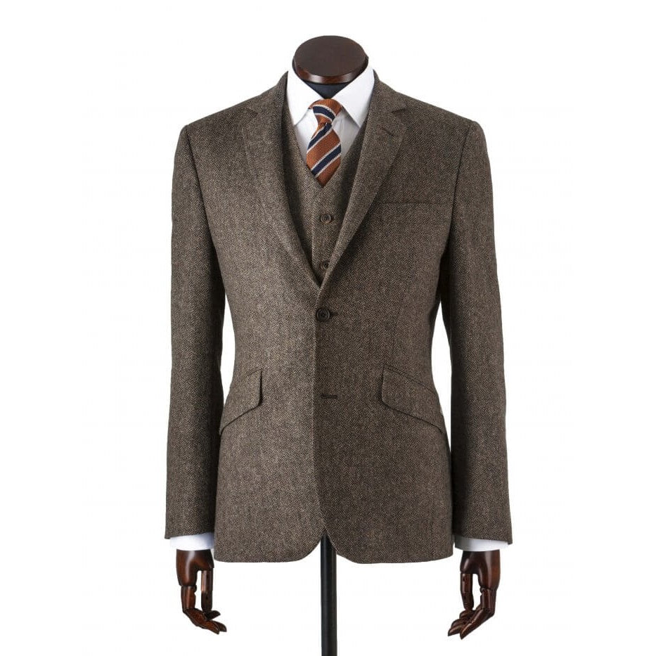 Jacket, Martin Brown Fine Herringbone Lambswool Tweed
