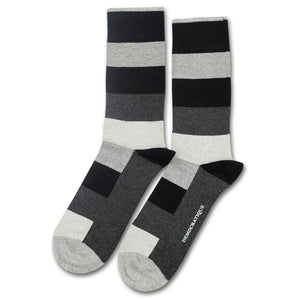 Sokker, Originals Heavy Stripe Charcoal Melange / Light Grey Melange / Black / Off White