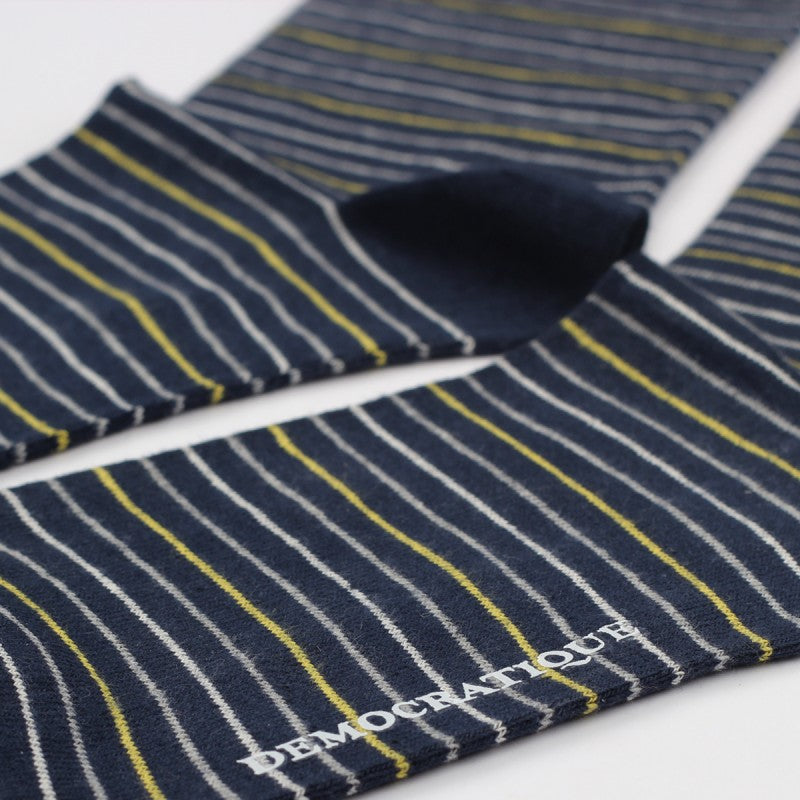 Sokker, Originals Mini Stripes Navy / Dusty Yellow / Off White / Light Grey Melange