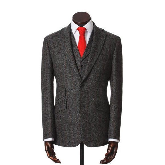 Jacket, Edward, Grey Red Herringbone Windowpane Lambswool Tweed