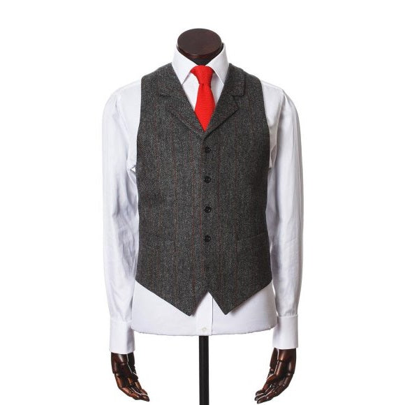Waistcoat, Edward, Grey Red Herringbone Windowpane Lambswool Tweed