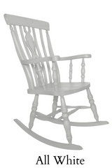 Beech Fiddle Back Rocking Chair Painted All White - The Rocking Chair