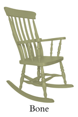 Beech Slat Back Rocking Chair Painted F&B Bone