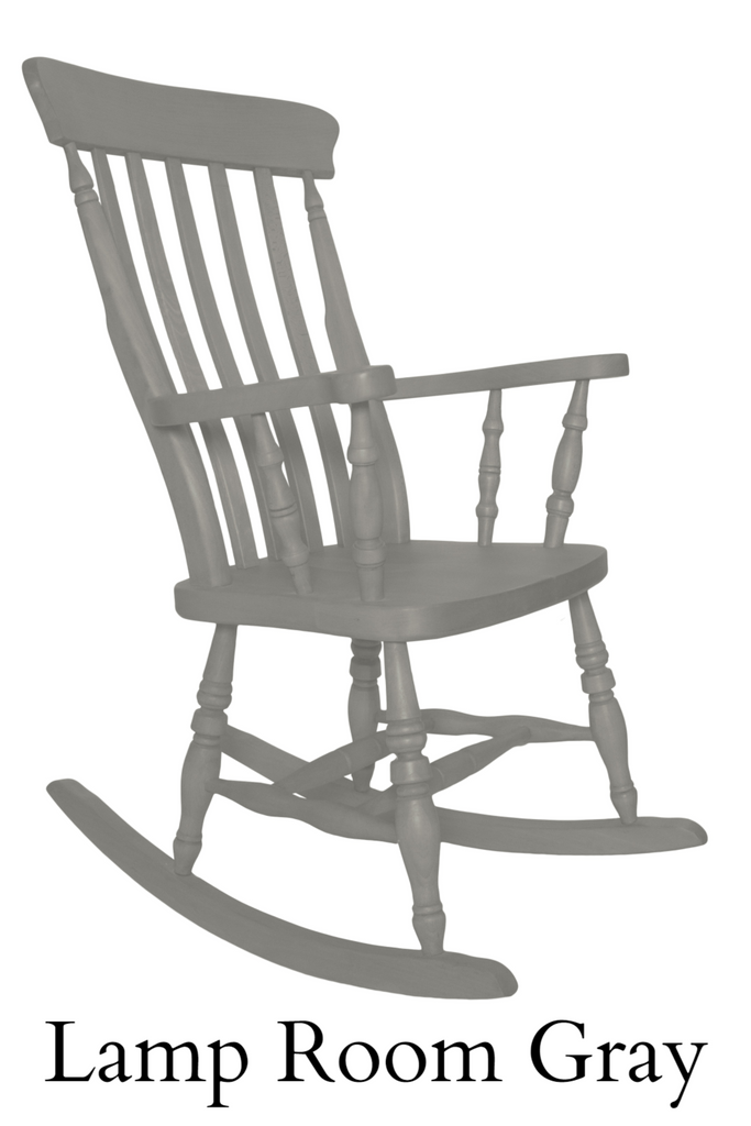 Beech Slat Back Rocking Chair Painted F&B Lamp Room Grey