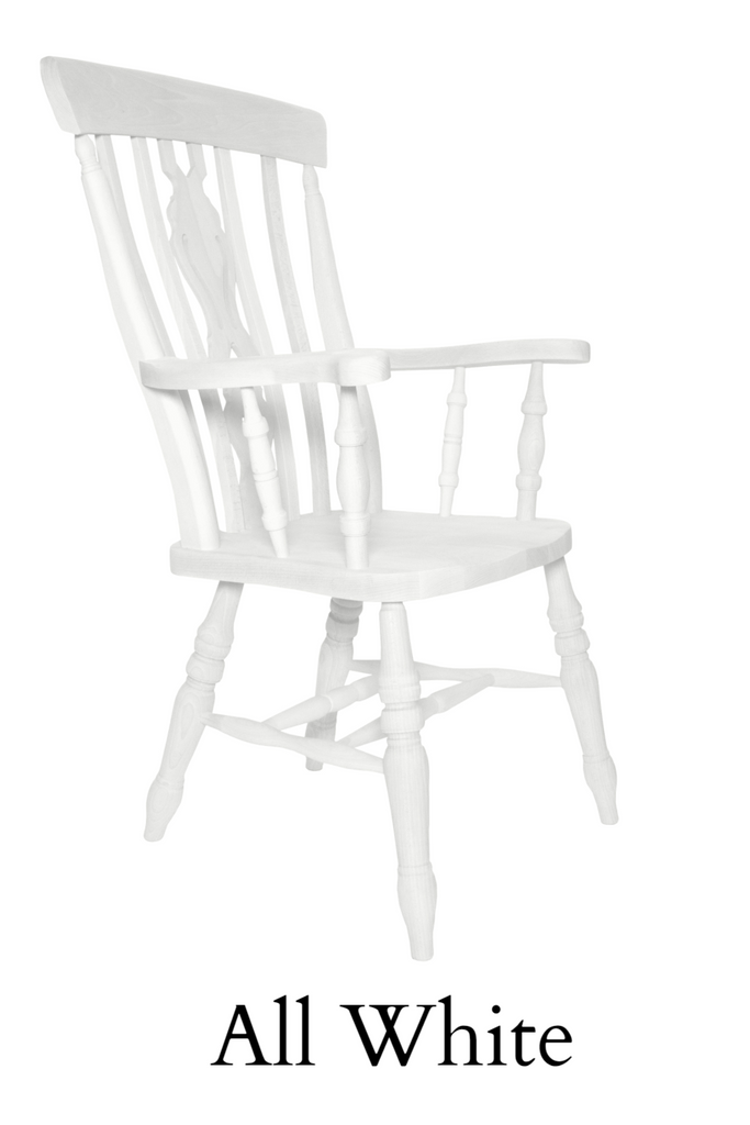 Beech Fiddle Back Grandfather Painted All White - The Rocking Chair