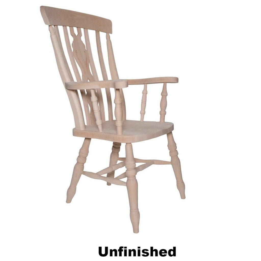 Unfinished Beech Fiddle Back Grandfather Chair - The Rocking Chair
