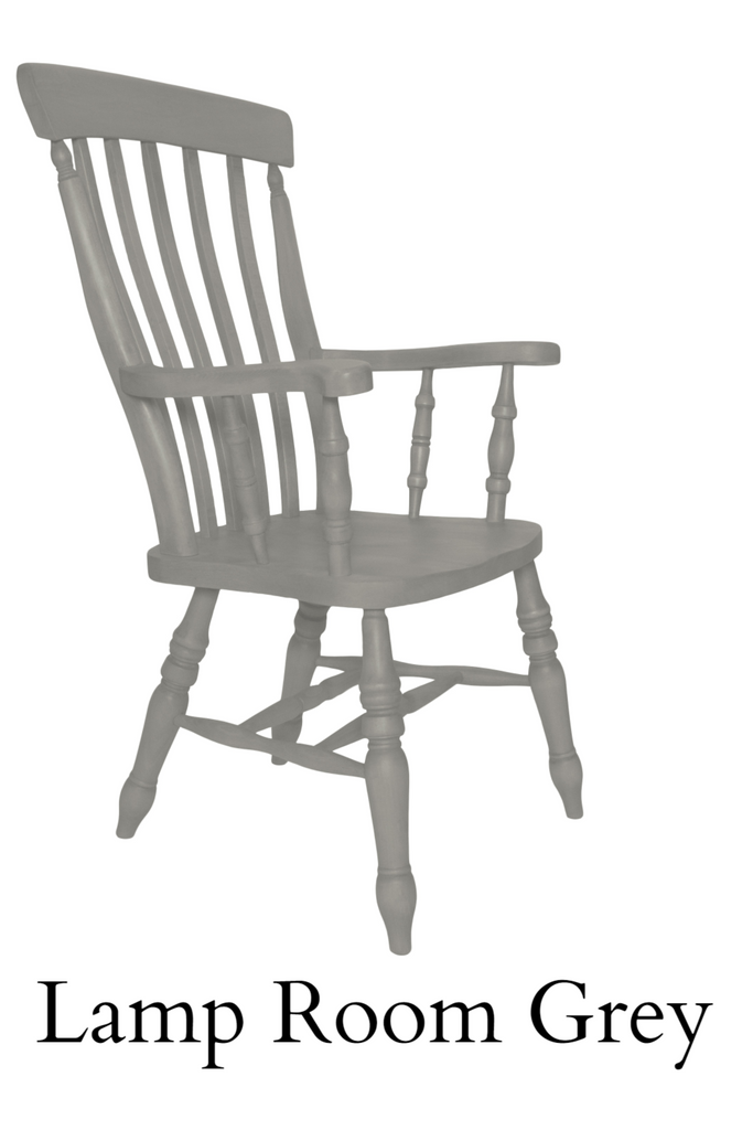 Beech Slat Back Grandfather Painted Lamp Room Grey - The Rocking Chair