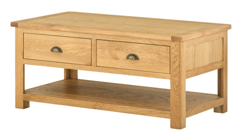 Portland Oak 2 Drawer Coffee Table with Shelf