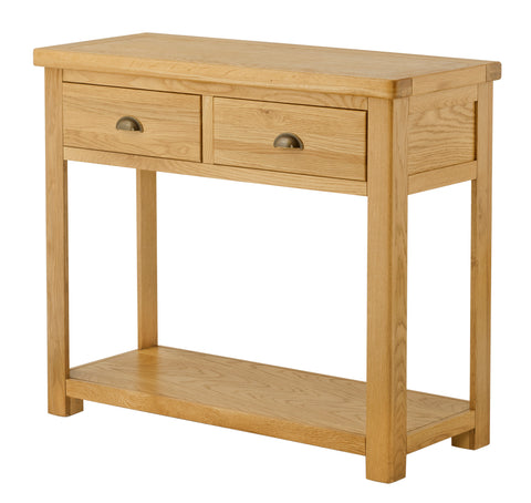 Portland Oak 2 Drawer Console Table with Shelf - The Rocking Chair