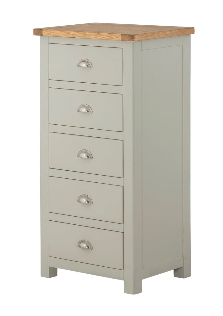 Portland Oak 5 Drawer Slim Chest of Drawers - The Rocking Chair