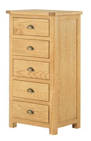 Portland Oak 5 Drawer Slim Chest of Drawers