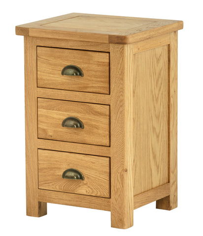 Portland Oak 3 Drawer Bedside