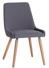 Oslo Oak Retro Style Grey Fabric Chair