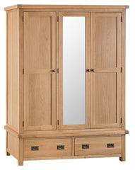 Oakhampton Oak 3 Door Triple Wardrobe with Drawers