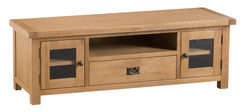 Oakhampton Oak Wide Glazed Door TV Cabinet with Drawer