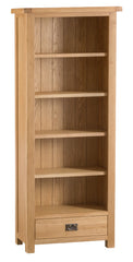 Oakhampton Oak Tall Narrow Bookcase with Drawer