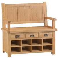 Oakhampton Oak Monks Bench with Drawers & Shoe Storage.