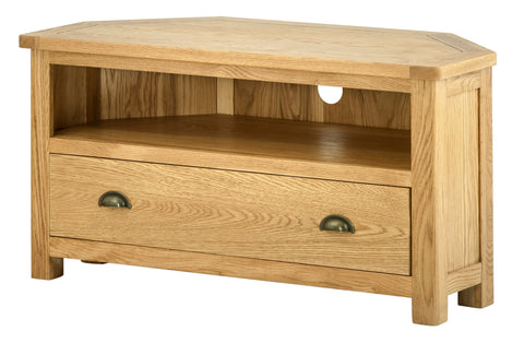 Portland Oak Corner TV Cabinet with Drawer
