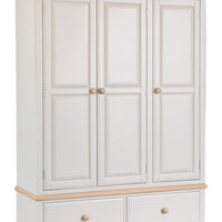 Dorset Oak Painted 3 Door 2 Drawer Wardrobe