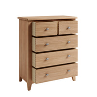 Gower Oak Bedroom 2 Over 3 Oak Chest of Drawers