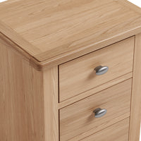 Gower Oak Dining Large 3 Drawer Oak Bedside