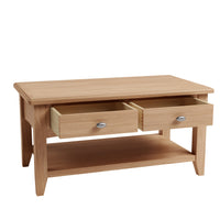 Gower Oak Dining Large Coffee Table With 2 Drawers