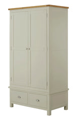Portland Oak Gents 2 Door Wardrobe with 2 Drawers - The Rocking Chair