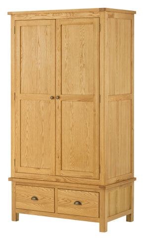 Portland Oak Gents 2 Door Wardrobe with 2 Drawers