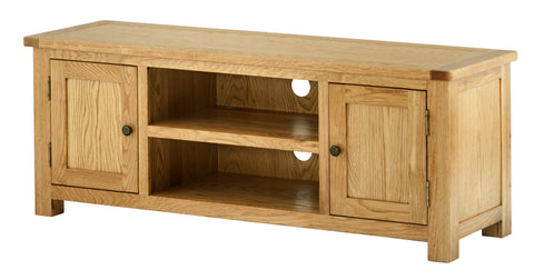 Portland Oak Wide TV Cabinet with Doors - The Rocking Chair