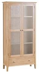 Oslo Oak Glazed Display Cabinet with Drawer